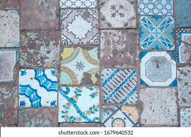 Palermo, Italy - July 13, 2019: detail of the old pavement of the Cloister of the Monastery of Santa Cateriana d'Alessandria, once a cloistered monastery of the Dominican Order.