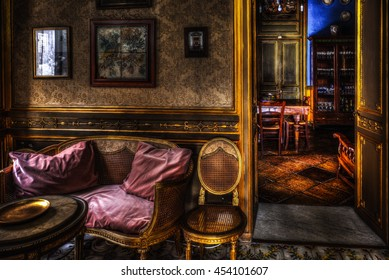 PALERMO, ITALY - JULY 16 2016: Famous sightseeing Landmark, the City Palace Palazzo Conte Federico on Sicily. Interior picture from the historical building