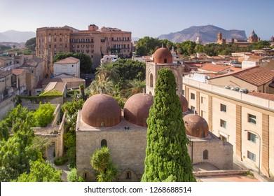 Palermo, Italy - July 4 2017: The red dome of Saint Giovanni degli Eremiti in downtown Palermo, Sicily.