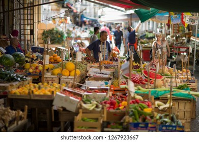 Palermo, Italy - July 5 2017: The fruit shop in Mercato Ballaro in historic downtown Palermo, Sicily.