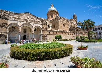 PALERMO, ITALY - JUNE 13: Facade of Cathedral church of the Roman Catholic Archdiocese of Palermo erected in 1185 by Walter Ophamil on 13 June 2016