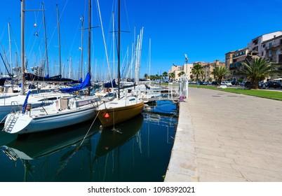 PALERMO, ITALY - JUNE 15, 2017:  city yacht port harbor view, Sicily.