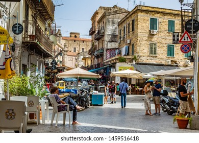 Palermo, Italy - June 15, 2019: Ballar is one of the oldest street markets in Palermo, one of the most lively and surely picturesque of Sicily.