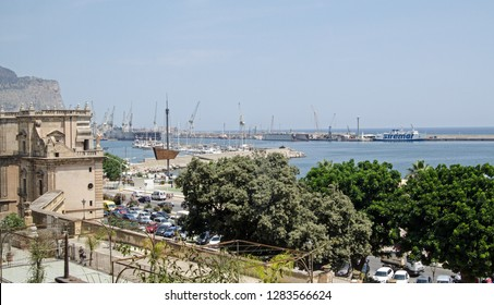 PALERMO, ITALY - JUNE 20, 2018: Elevated view looking out across Palermo harbour on a sunny summer day.