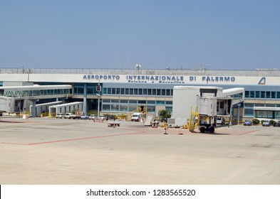 PALERMO, ITALY - JUNE 21, 2018: View of the terminal building at Palermo's international airport, named after the anti-mafia duo Falcone e Borsellino.  Sunny summer morning.