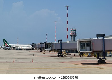 PALERMO, ITALY - JUNE 21, 2018:  An Alitalia passenger jet parked at the Falcone e Borsellino international airport in Palermo, Sicily on a sunny summer morning.