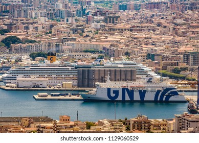 Palermo, Italy - June2018: GNV ship at Palermo Harbour