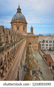 Palermo, Italy - October, 2018. External view of the Palermo Cathedral, dedicated to the Assumption of the Virgin Mary. In Arab-Norman style, it is part of the a Unesco World Heritage site.