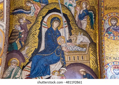 PALERMO, ITALY - SEPTEMBER 02 2016: Interior Shot of the famous church Santa Maria dell Ammiraglio in Sicily, Italy, called Martorana Church