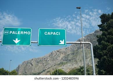 Palermo, Italy - September 05, 2018 : Capaci motorway exit (Giuseppe Falcone assasination)