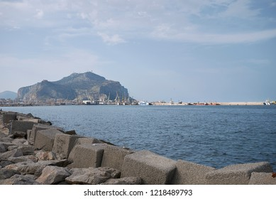 Palermo, Italy - September 06, 2018 : View of Palermo ferry boats harbor