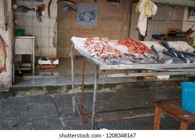 Palermo, Italy - September 07, 2018 : fishmonger kiosk in La Vucciria market