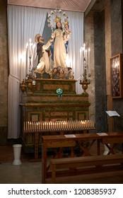 Palermo, Italy - September 07, 2018 : Madonna del Rosario col Bambino e San Domenico chapel at Church of Saint Dominic