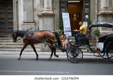 Palermo, Italy - September 07, 2018 : View of a carriage with horses
