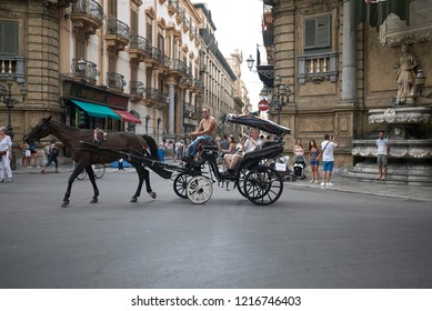 Palermo, Italy - September 07, 2018 : Horse carriage in the street
