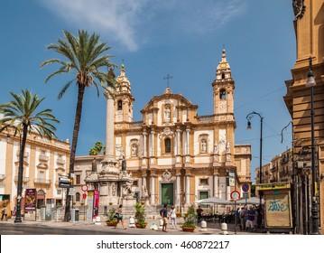 PALERMO, ITALY - SEPTEMBER 6, 2015: Panoramic view of the Basilica San Domenico (Chiesa di San Domenico e Chiostro) and square S.Domenico in Palermo, Sicily.