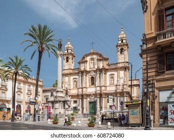 PALERMO, ITALY - SEPTEMBER 6, 2015: Panoramic view of the Basilica San Domenico or Chiesa di San Domenico e Chiostro and square S.Domenico in Palermo, Sicily.