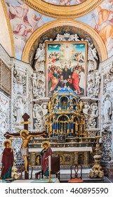 PALERMO, ITALY - SEPTEMBER 7, 2015: Interior of the famous church of Santa Maria dell'Ammiraglio, commonly called the Martorana  in Palermo, Sicily, Italy.