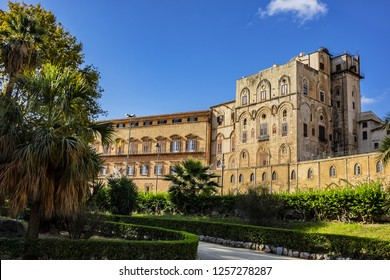 Palermo Palace of Normans (Palazzo dei Normanni) or old Royal Palace. Norman Palace - one of oldest royal palaces in Europe; it was created in IX century by Emir of Palermo. Palermo, Sicily, Italy.