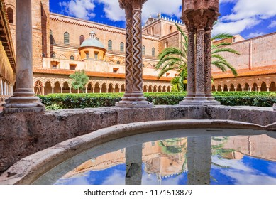 Palermo, Sicilia - October 2017: Monreale is a Norman-Byzantine cathedral in Sicily, Italy overlooking Palermo city.