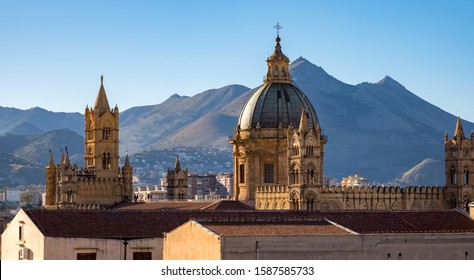 PALERMO, SICILY, - DECEMBER, 24, 2017:Skyline of Palermo, Sicily, Europe, showing the dome of Palermo cathedral.