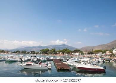 Palermo Sicily Holiday Travel Coast Sea Sand Sun Wonderful Coast Sky Blue Mountain Peak Boats port Panoramic at Taşkale Tourism Italy.