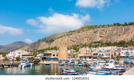 Palermo Sicily Italian Island South Wonderful Landscape Coast port Boats Yacht Luxury Nature Mountain Wonderful Landscape Summer Vacation Travel Tourism Sightseeing.