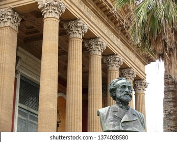 Palermo, Sicily, Italy. 11/04/2010. Main facade of the Teatro Massimo. In the foreground, a bronze bust of the musician Giuseppe Verdi