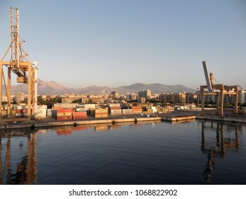 Palermo, Sicily, Italy - July 18, 2010: Ferry at dawn arrival at the port of Palermo
