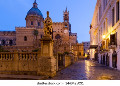 PALERMO, SICILY, ITALY - June 16, 2019: Arab-Norman architectural style of Palermo Cathedral Santa Vergine Maria Assunta. Roman Catholic Palermo Cathedral was erected in 1185.