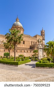 Palermo, Sicily, Italy. Monument to St. Rosalie in the square in front of the Cathedral