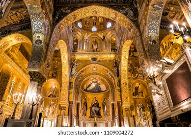 Palermo, Sicily, Italy - October 11, 2017: Interior of Palatine Chapel of the Royal Palace in Palermo, Sicily, Italy