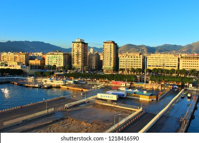 Palermo, Sicily, Italy - October 22nd 2018: Early morning view of the mountainous skyline, old town and port from the top of a docked Cruise Ship.