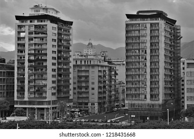 Palermo, Sicily, Italy - October 22nd 2018: A close up of the two high-rise tower blocks that dominate the view of the Palermo cityscape from the port.