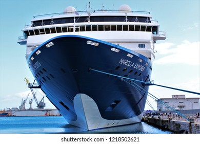 Palermo, Sicily, Italy - October 22nd 2018: The Marella Explorer TUI cruise ship docked in port in Palermo.