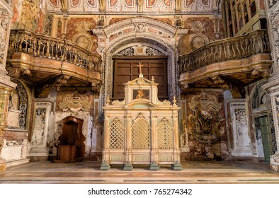 Palermo, Sicily, Italy - October 7, 2017: Interiors, frescoes and architectural details of the Santa Caterina church in Palermo, Italy
