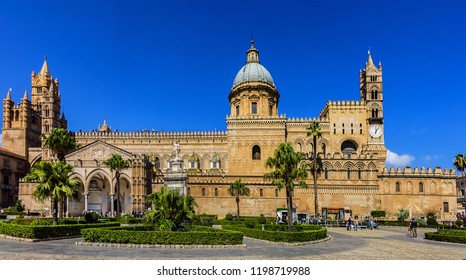 PALERMO, SICILY, ITALY - SEPTEMBER 23, 2018: Arab-Norman architectural style of Palermo Cathedral Santa Vergine Maria Assunta. Roman Catholic Palermo Cathedral was erected in 1185.