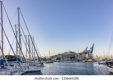 PALERMO, SICILY, ITALY - SEPTEMBER 23, 2018: Boats and yachts parked in La Cala bay - Palermo old port. Port of Palermo (Porto di Palermo) is one of major ports for passenger traffic in Mediterranean.