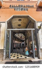"""PALERMO, SICILY, ITALY - SEPTEMBER 24, 2018: Palermo """"Galleria delle Vittorie"""" (Victory Gallery). Opened in 1935, Galleria delle Vittorie in Fascist period in style of other shopping Italian arcades."""