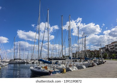 PALERMO, SICILY, ITALY - SEPTEMBER 27, 2018: Boats and yachts parked in La Cala bay - Palermo old port. Port of Palermo (Porto di Palermo) is one of major ports for passenger traffic in Mediterranean.