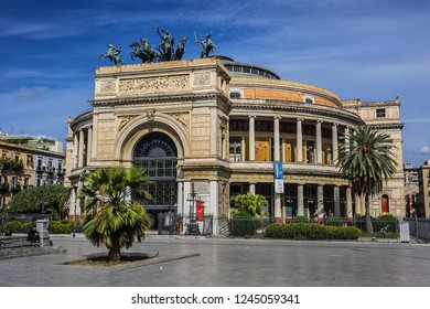 PALERMO, SICILY, ITALY - SEPTEMBER 28, 2018: Neoclassical Palermo Politeama Theatre (Teatro Politeama Garibaldi, 1874) is located in the central Piazza Ruggero Settimo.