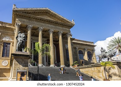 PALERMO, SICILY, ITALY - SEPTEMBER 28, 2018: Neoclassical Palermo Opera House (Teatro Massimo Vittorio Emanuele, 1897) at Piazza Verdi. Teatro Massimo is largest in Italy and second-largest in Europe.