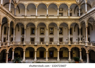 PALERMO, SICILY, ITALY - SEPTEMBER 28, 2018: Courtyard of Palermo Palace of the Normans (Palazzo dei Normanni, IX century) or old Royal Palace.