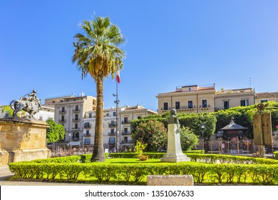 PALERMO, SICILY, ITALY - SEPTEMBER 28, 2018: View of Palermo Verdi Square (Piazza Giuseppe Verdi) from Opera House. Piazza Verdi was created in XIX century in order to host new Opera house of Palermo.