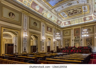 PALERMO, SICILY, ITALY - SEPTEMBER 28, 2018: Hercule's room (Sala d'Ercole) in Palazzo dei Normanni (Palace of the Normans). Sala d'Ercole, named for frescos depicted mythological hero, Hercules.