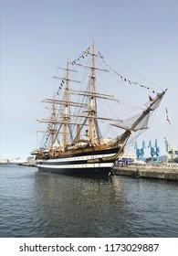 PALERMO, SICILY, June 10, 2018: The ship Amerigo Vespucci moored at the port of Palermo