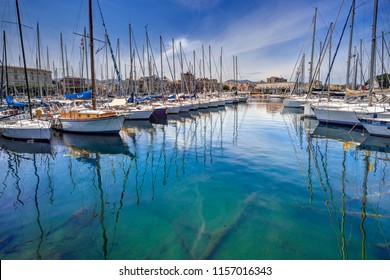 Palermo, Sicily - June 6, 2018: Boats and yachts in the bay of Palermo, Sicily. Editorial only.