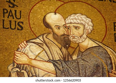 PALERMO, SICILY - NOV 28, 2018 - Byzantine style mosaic of Sts Paul and Peter on the clerestory wall of the Capella Palatina, Palermo, Sicily, Italy
