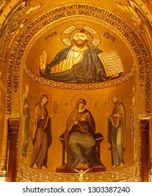 PALERMO, SICILY - NOV 28, 2018 - Mosaic of Christ Pantocrator over the main altar of Capella Palatina, Palermo, Sicily, Italy