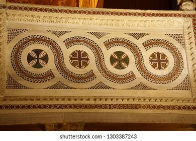 PALERMO, SICILY - NOV 28, 2018 - Detail of inlaid marble Islamic design  panel in  Capella Palatina, Palermo, Sicily, Italy